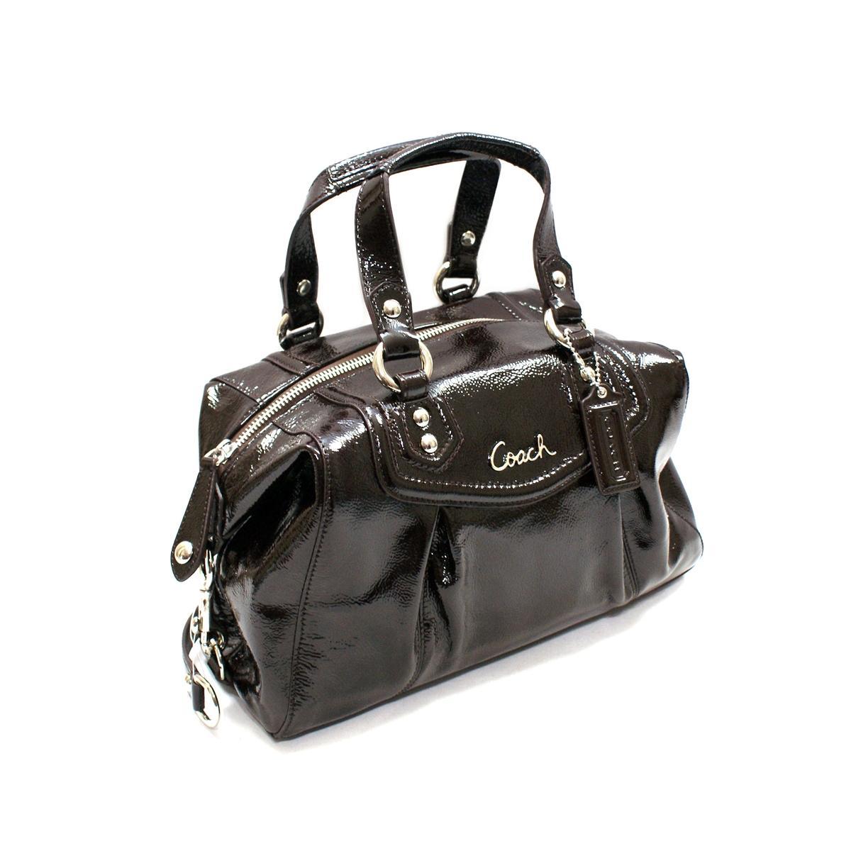 Coach Ashley Patent Leather Mahogany Satchel Shoulder Bag
