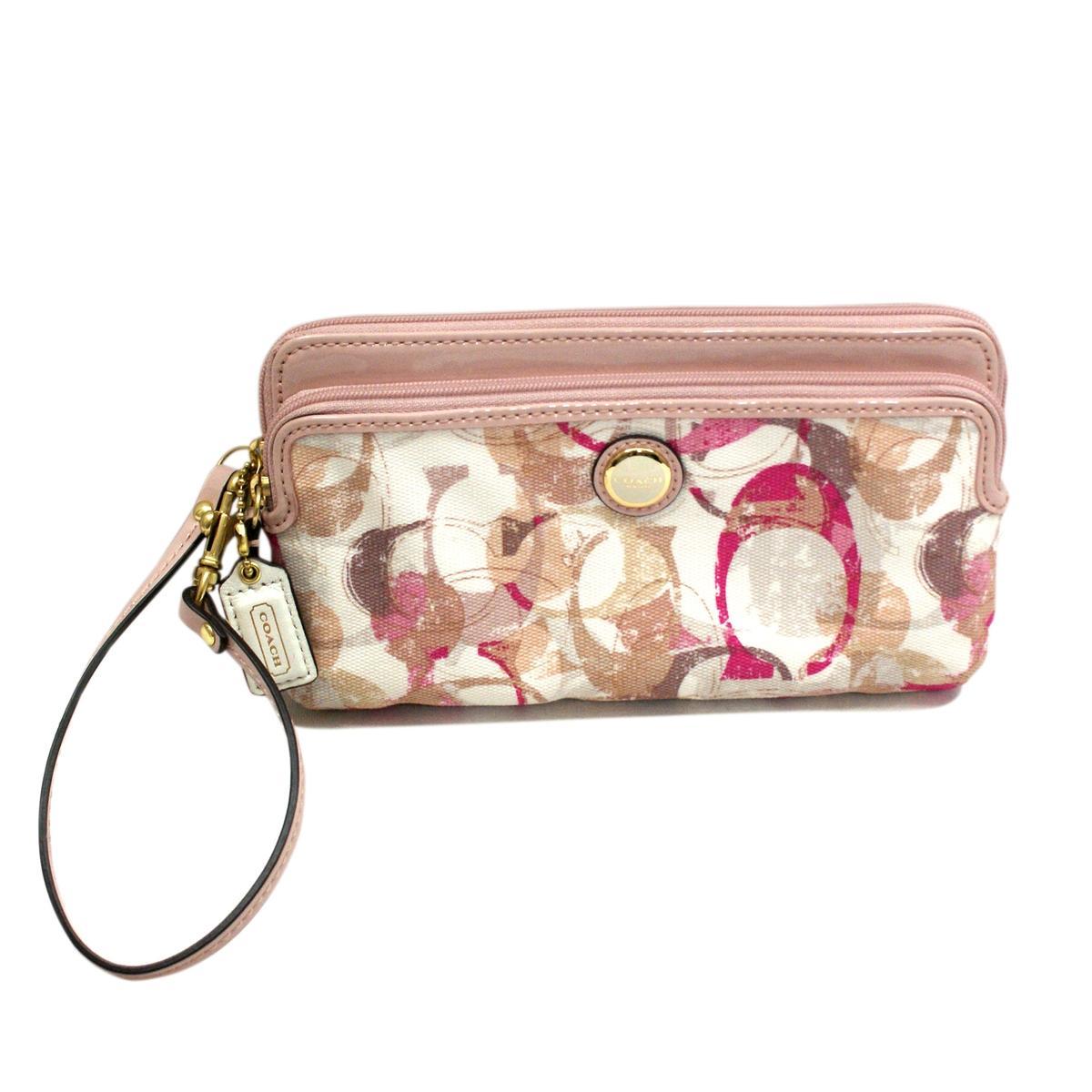 Coach Pop Stamped Double Zip Wallet Wristlet Pink 49200