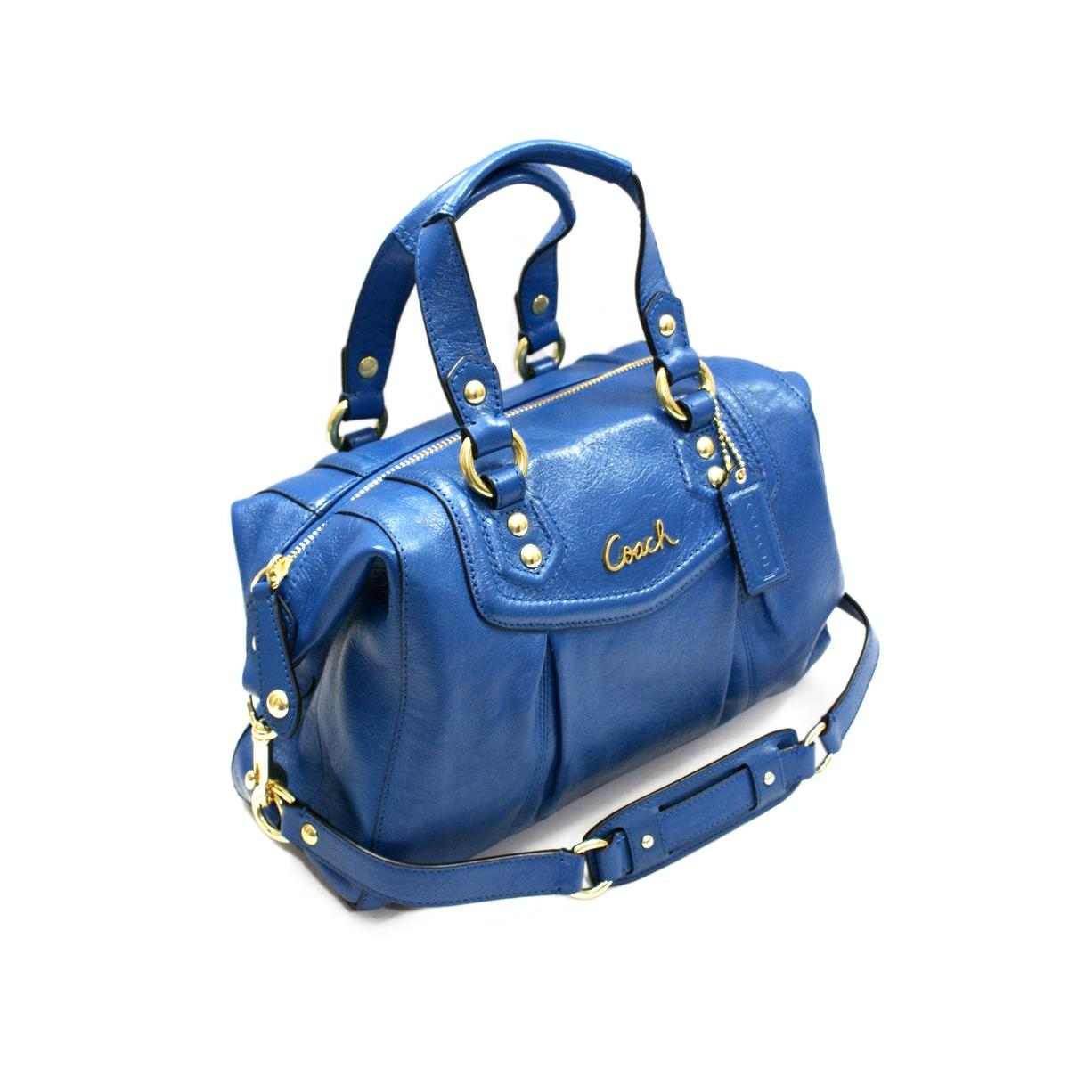 Coach Ashley Leather Satchel Shoulder Bag Cobalt Blue