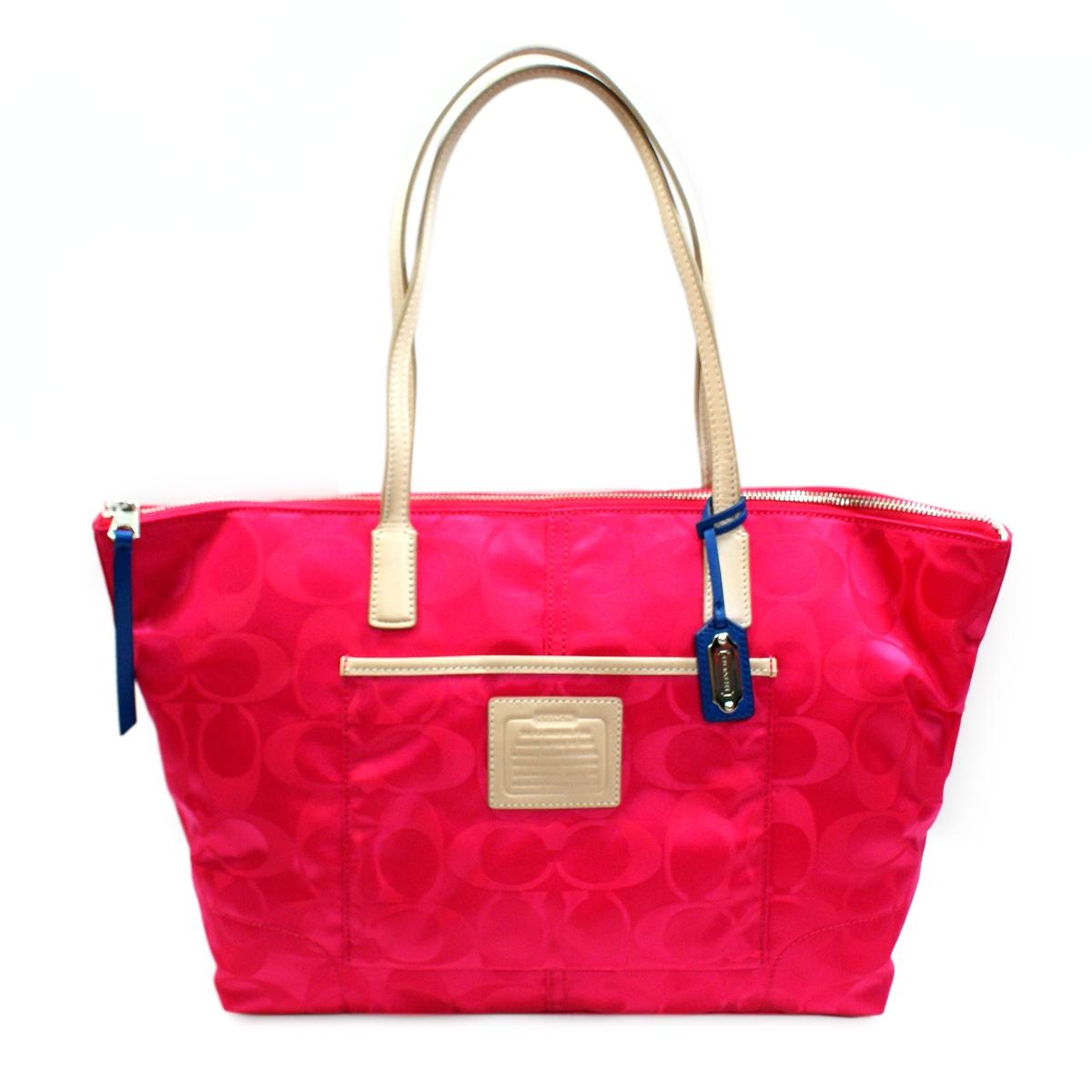 Coach Signature Nylon East West Zip Tote Pink Ruby 24862