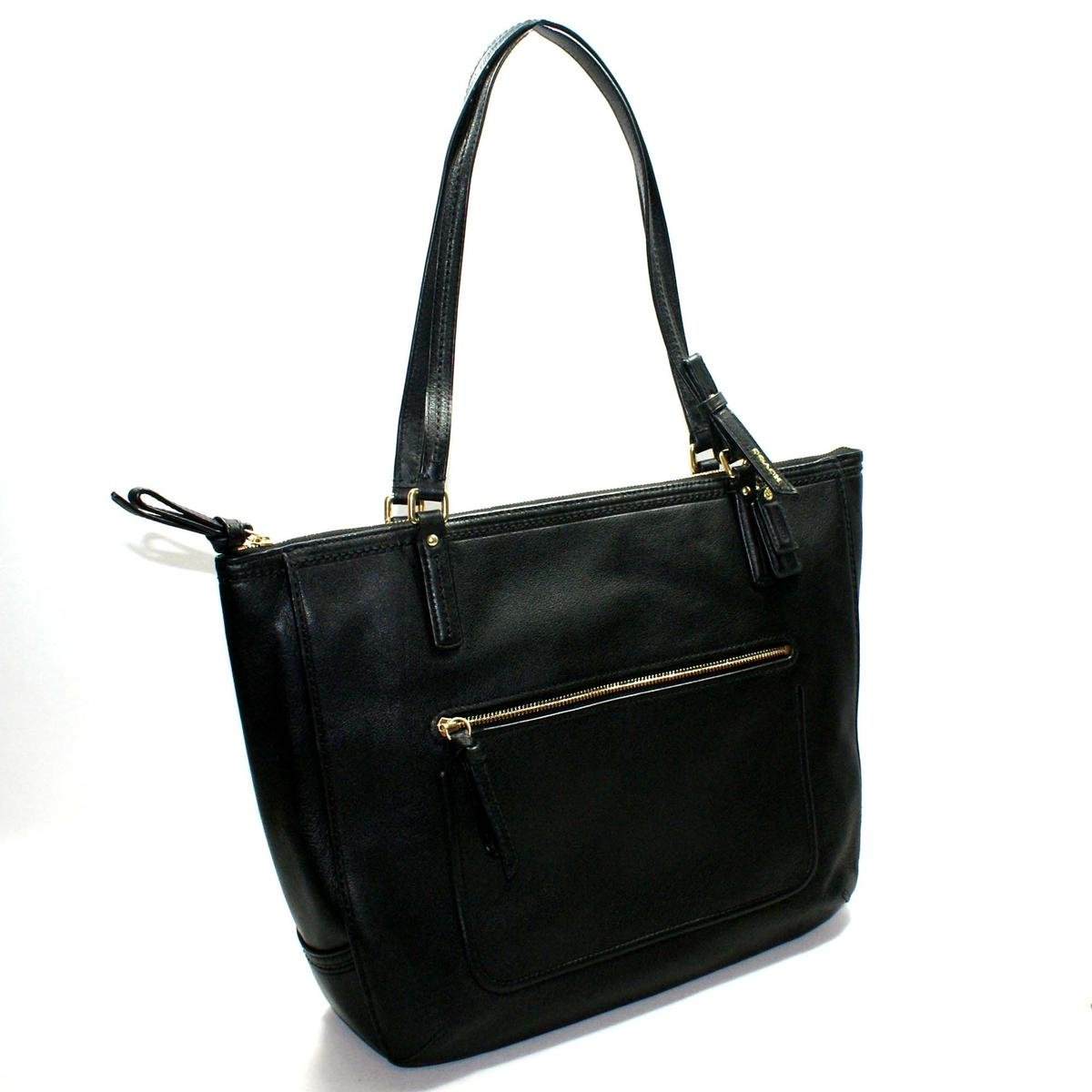 Coach Poppy Black Leather Small Tote #25066 : Coach 25066