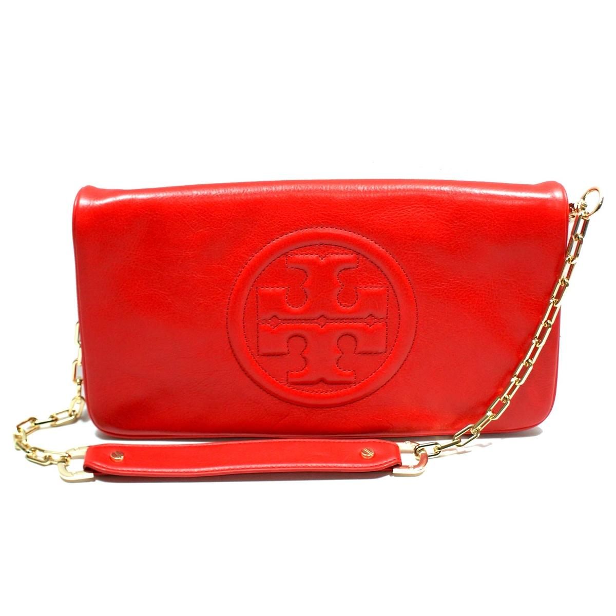 Tory Burch Red Leather Bombe Reva Clutch Shoulder