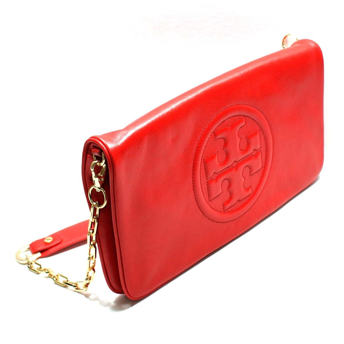 Tory Burch Tory Red Leather Bombe Reva Clutch/ Shoulder Bag #90009600 ...