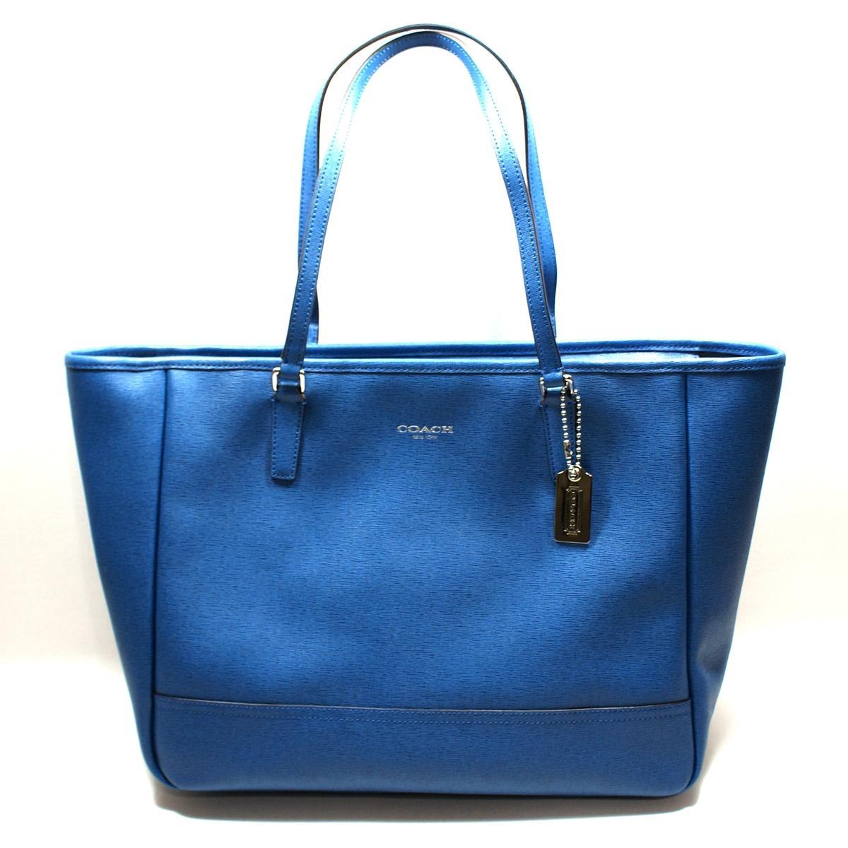 Coach Saffiano Leather Medium East West Tote Bag Cobalt