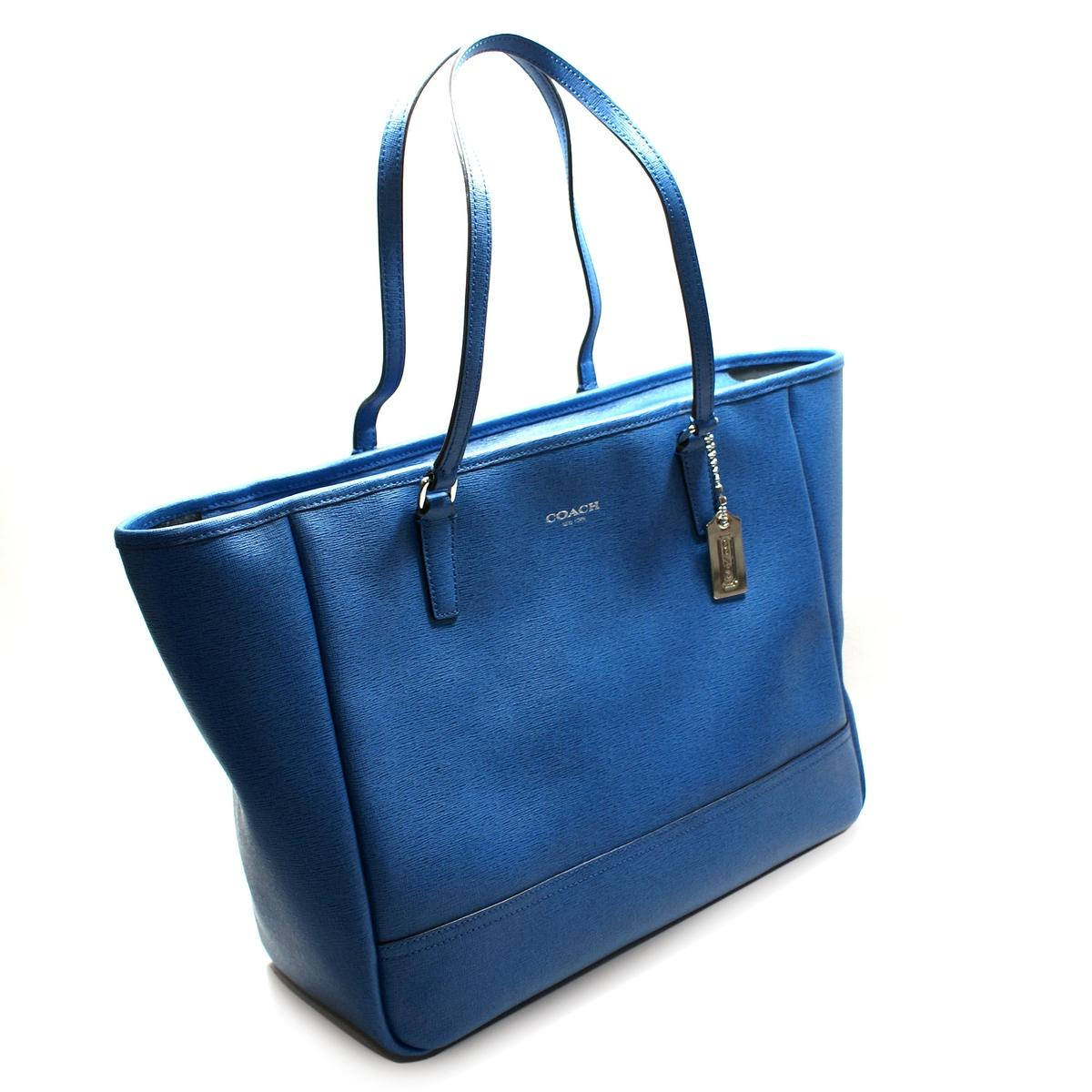Home Coach Saffiano Leather Medium East West Tote Bag Cobalt Blue