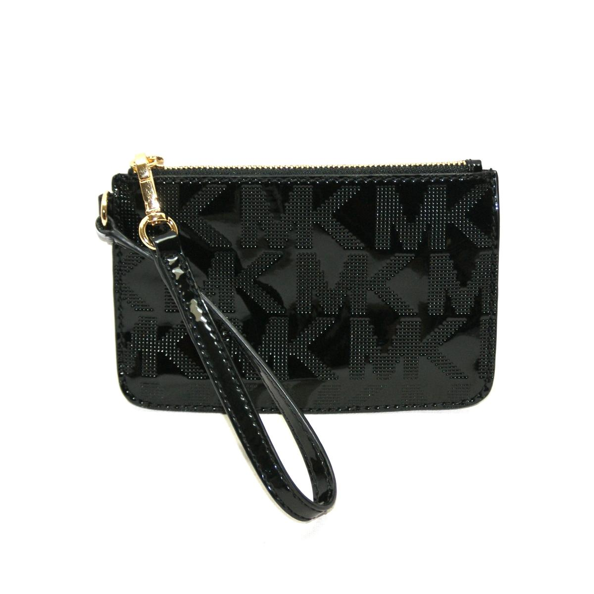 Michael Kors Jet Set MK Signature Mirror Metallic Black Patent Leather ...
