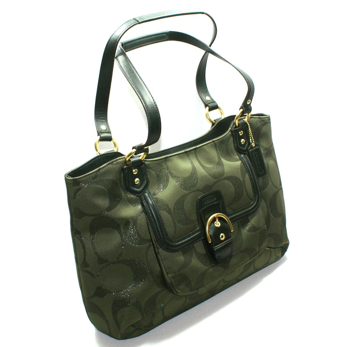 Coach Compton Signature Carryall Shoulder Bag Moss 26246