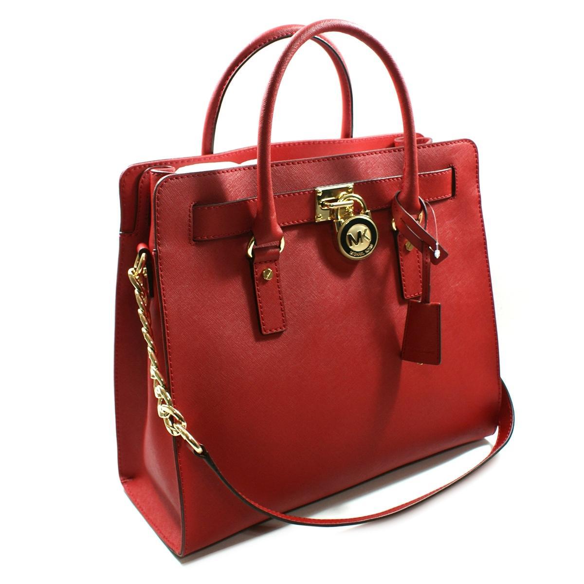 Michael Kors Hamilton Large Genuine Leather Tote/ Shoulder Bag Red ...