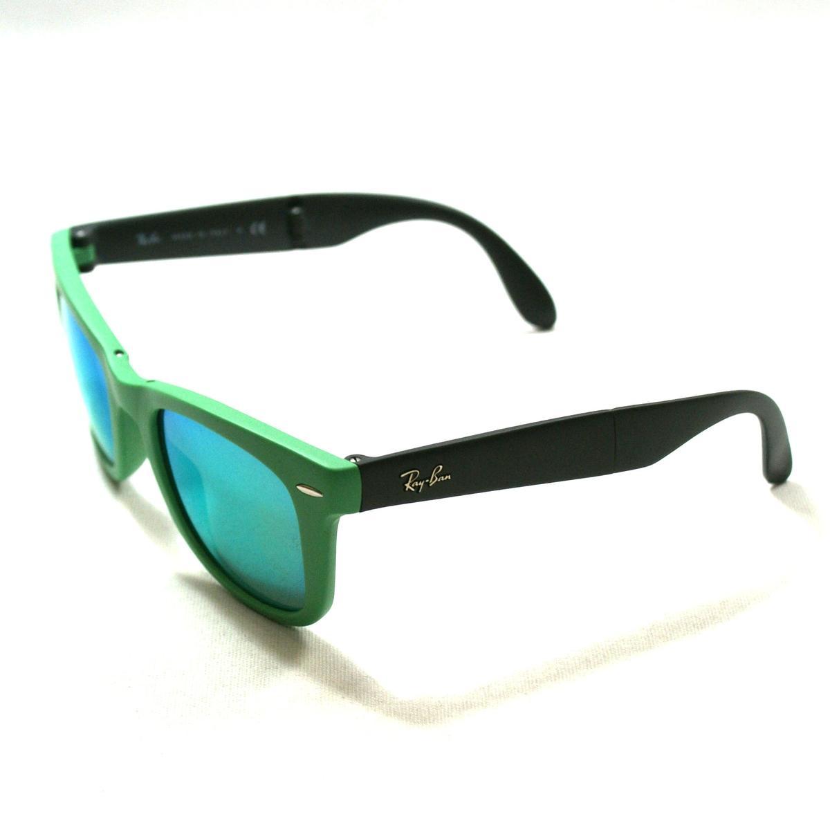 Ray Ban Folding Wayfarer Matte Green Sunglasses #RB4105