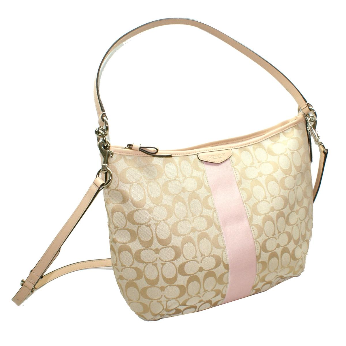 Coach Signature 12 CM Convertible Hobo Bag Light Khaki Pink #29941 ...
