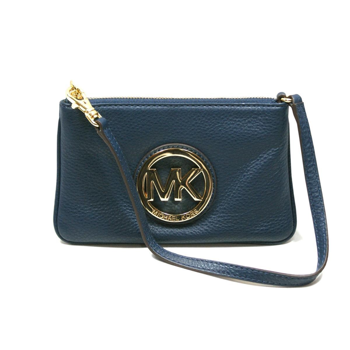 Michael Kors Fulton Navy Genuine Leather Small Wristlet