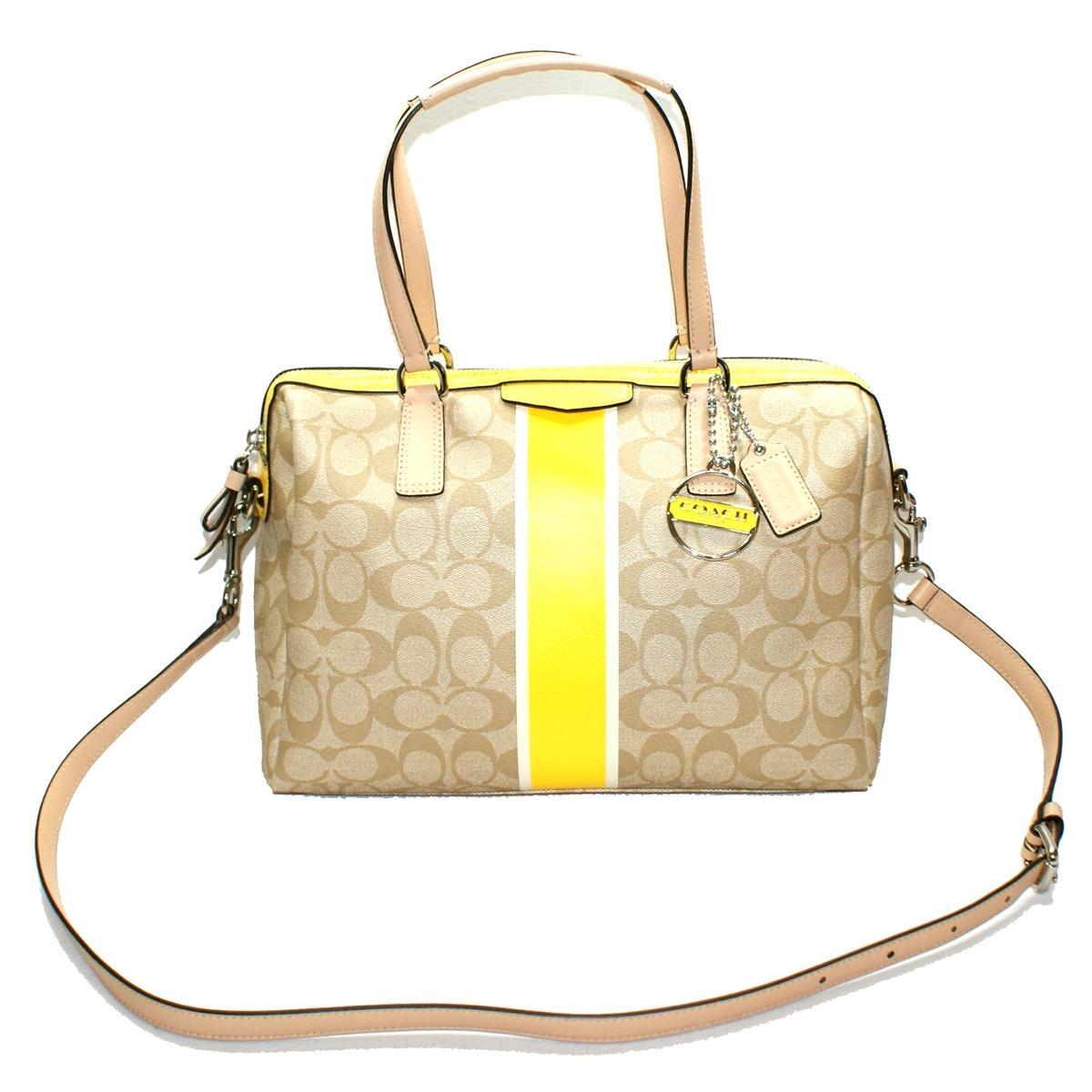Coach Signature Stripe Nancy Pvc Satchel Crossbody Bag