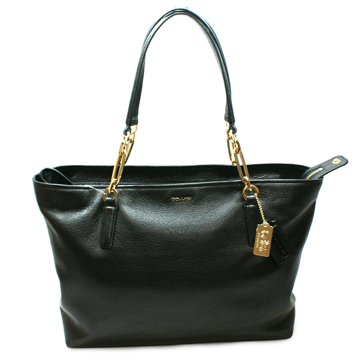 Coach Madison Leather East West Tote Bag Black 26769
