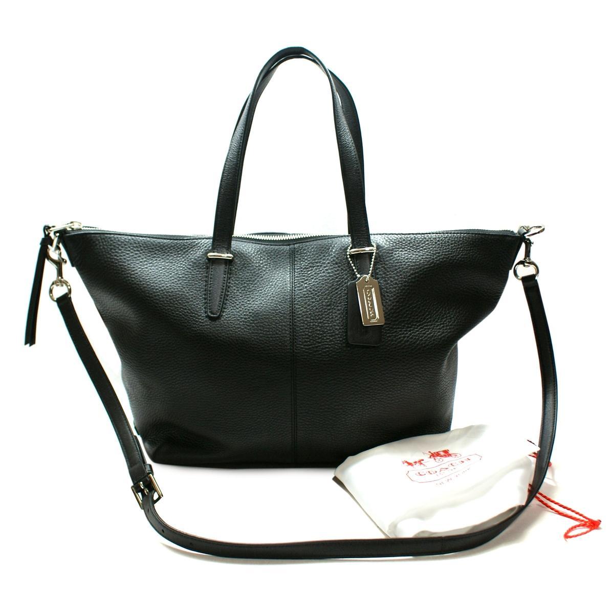 Coach Bleecker Cooper Leather Satchel/ Crossbody Bag Black