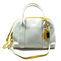 CoachBleecker Edgepaint Leather Preston Satchel/ Crossbody Bag White/ Sunglow