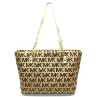Michael KorsJet Set Chain MK Signature Jacquard Tote/ Shoulder Bag Gold