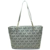 Michael KorsJet Set Chain MK Signature Jacquard Tote/ Shoulder Bag Gunmetal