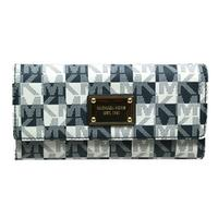 Michael KorsJet Set MK Signature PVC Checkbook Wallet/ Clutch Navy Blue