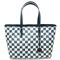 Michael KorsJet Set Medium Travel Genuine Leather Tote Navy White