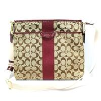 Coach12 CM Signature File Bag/ Crossbody Bag Merlot