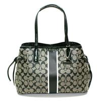CoachSignature Drawstring Carryall/ Shoulder Bag Black/ White