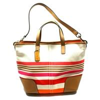 CoachHadley Stripe Duffle/ Shoulder Bag Pink Multi