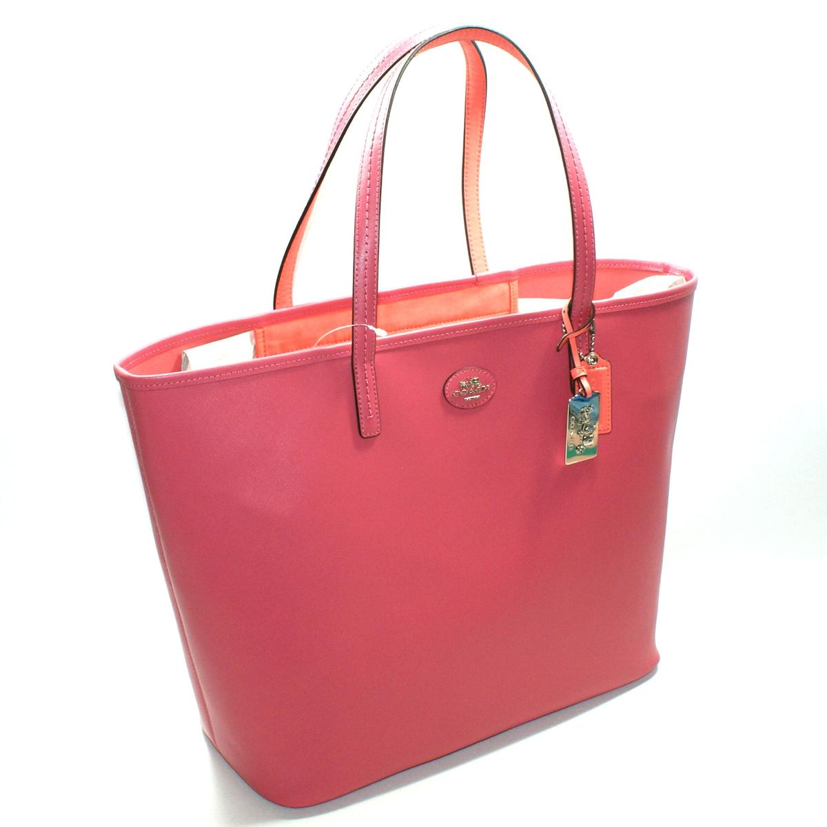 Coach Loganberry Coral Leather Large Tote Bag 32701