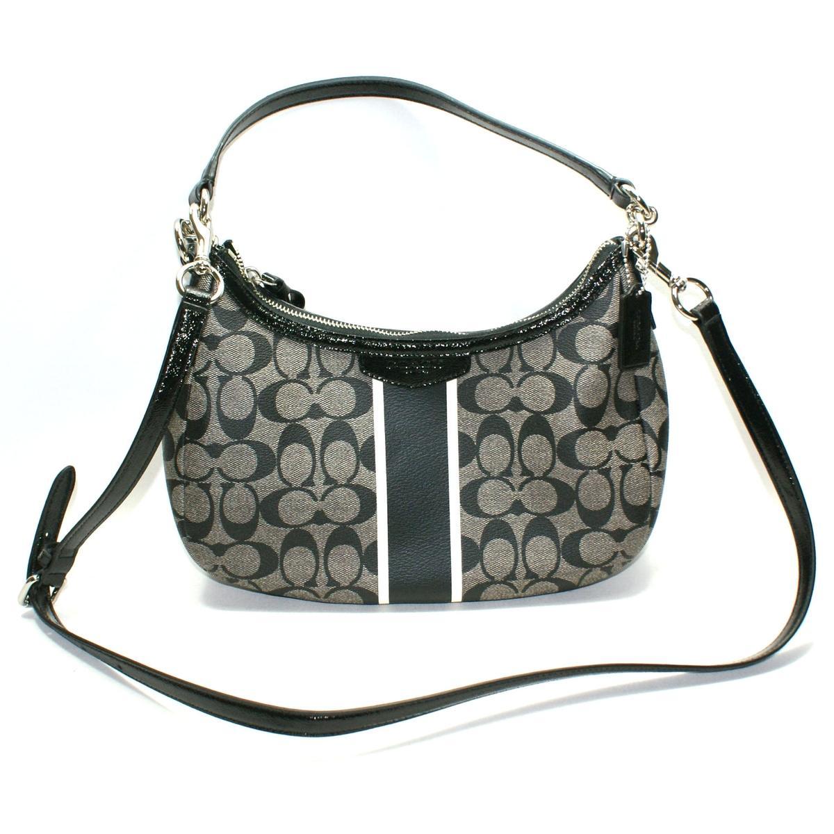 26b5d788a3 Home · Coach · Signature Stripe Demi Crossbody Bag Black White.