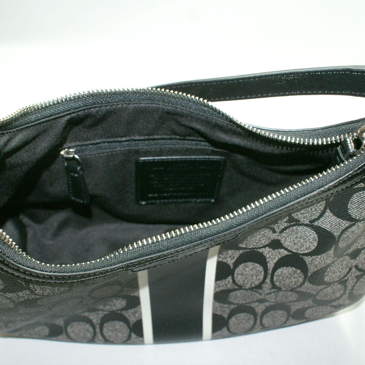 Coach Signature Stripe Demi Crossbody Bag Black White