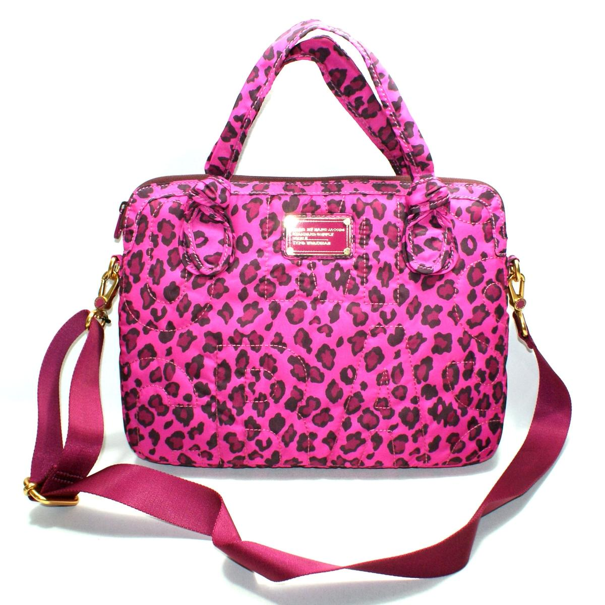 Marc By Marc Jacobs Pop Pink Leopard Multi Nylon 13 Inch Laptop Bag Messenger Bag M0002589