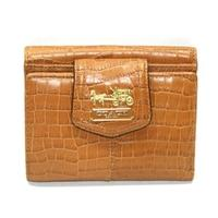 CoachMadison Embossed Croc Small Wallet Toffee