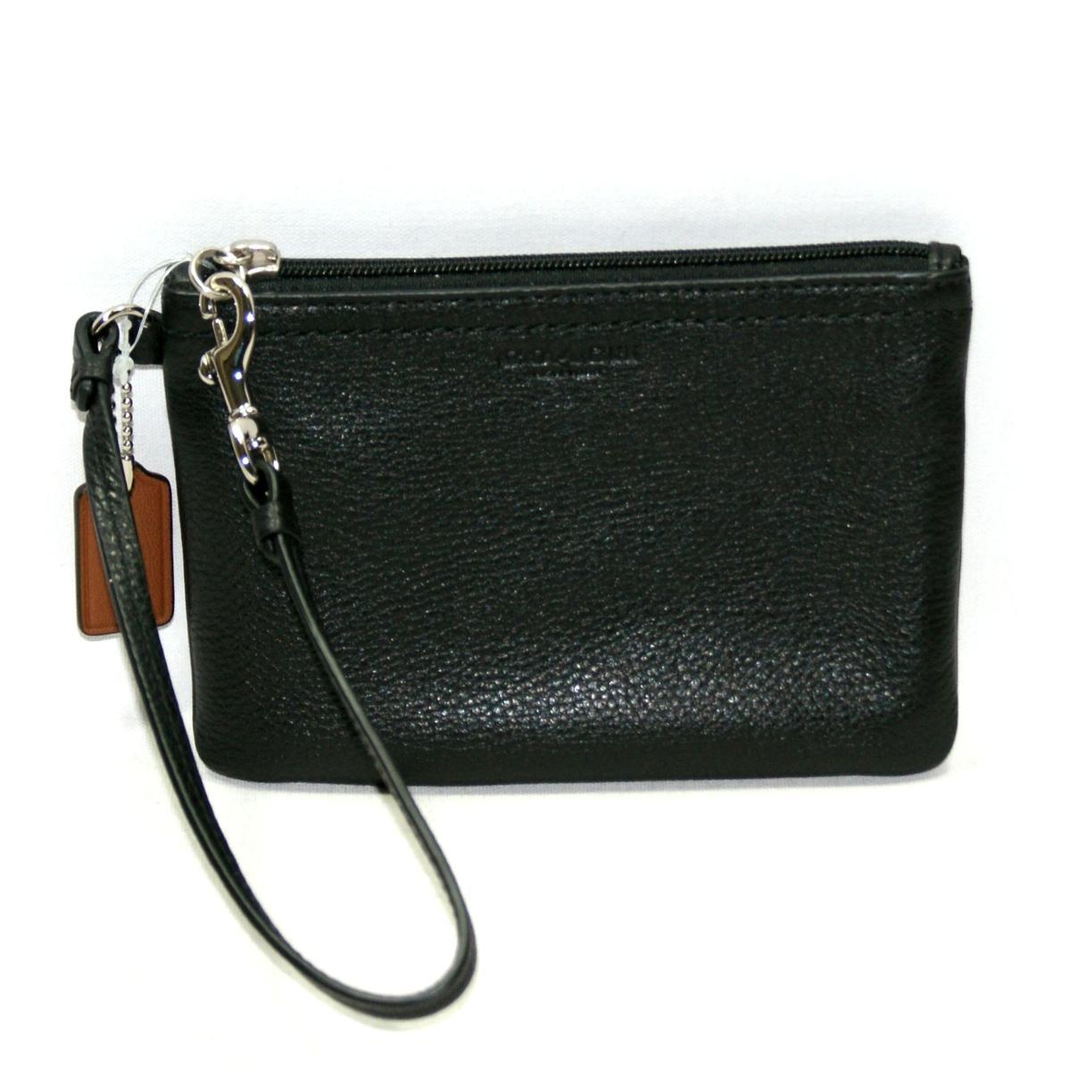 Coach Park Leather Small Wristlet Black 51763 Coach 51763