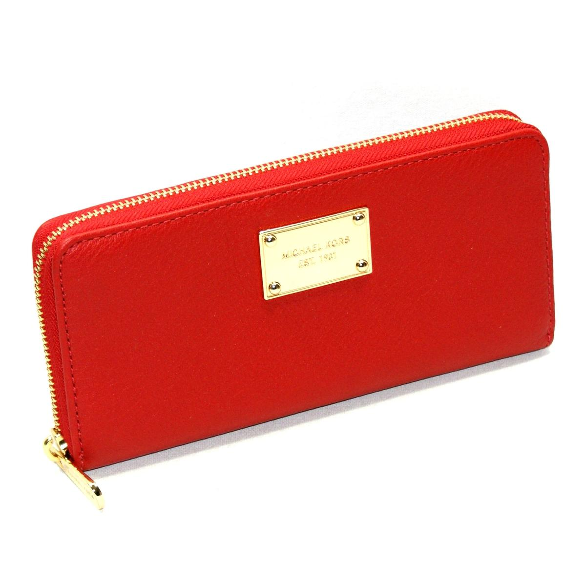Michael Kors Jet Set Continental Genuine Leather Red