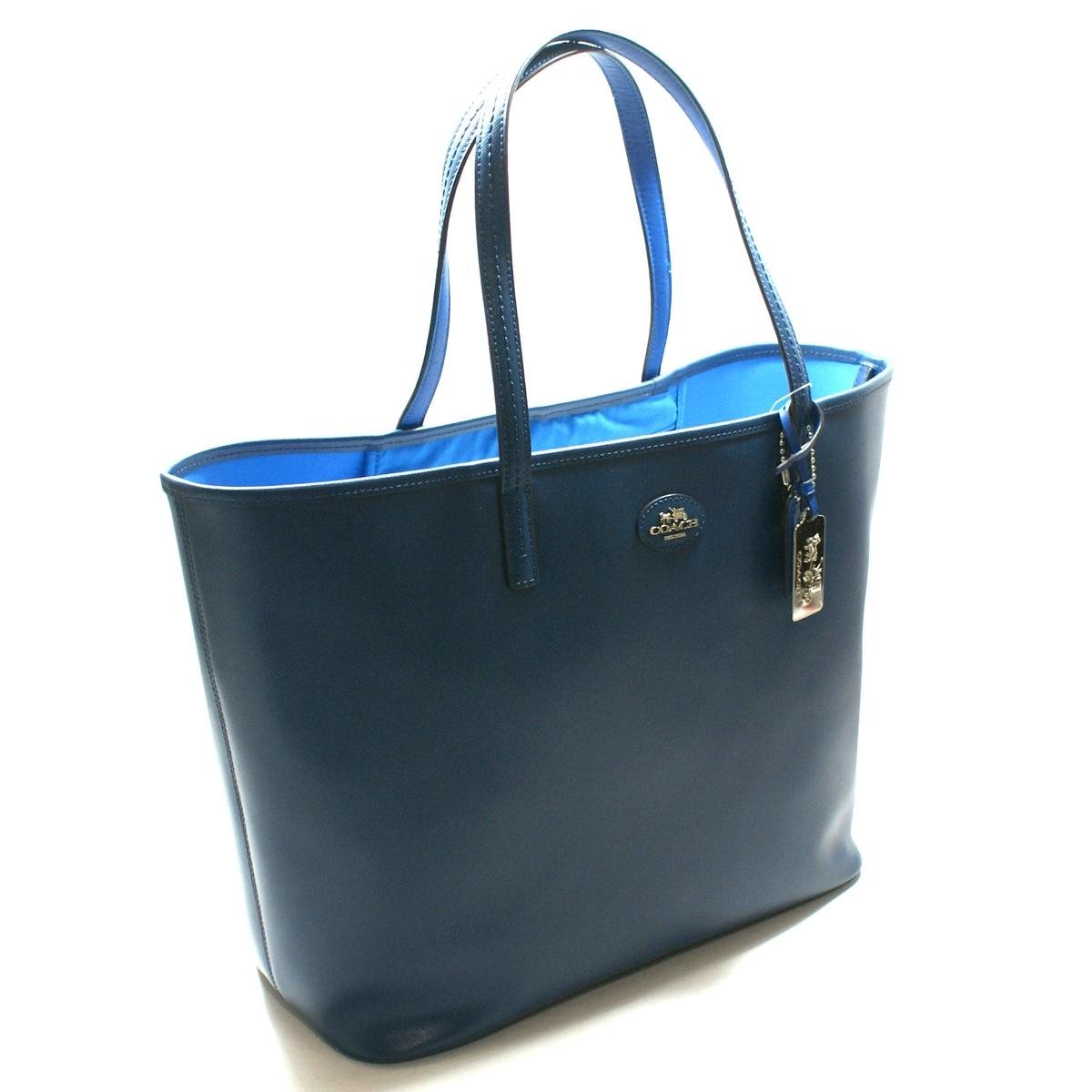 Home Coach Brilliant Blue Leather Large Tote Bag