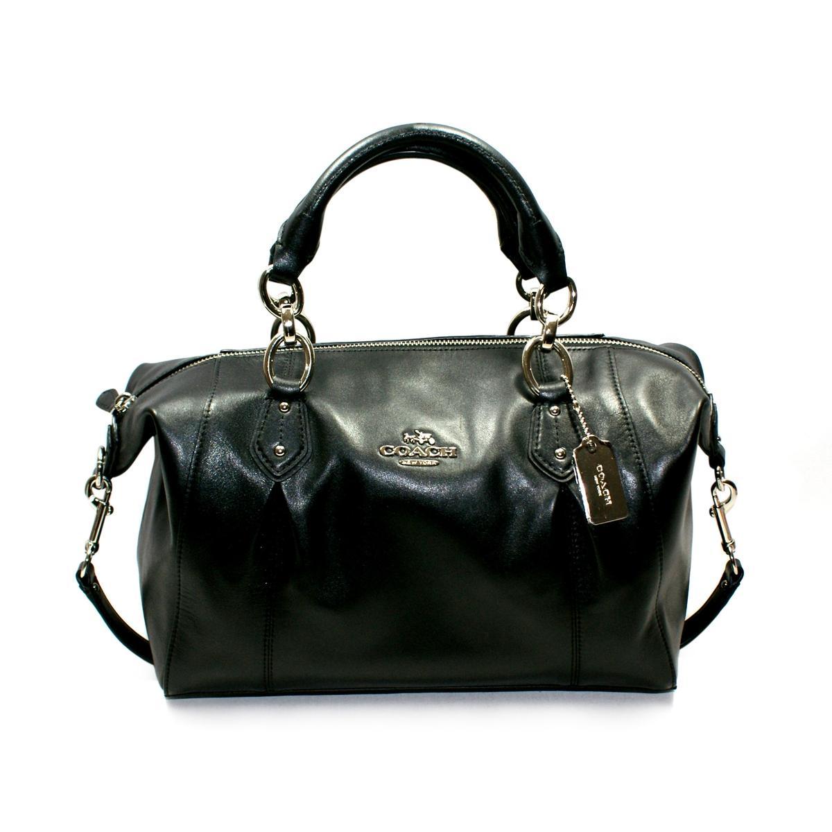 Coach Collette Leather Satchel Shoulder Bag Black 33806