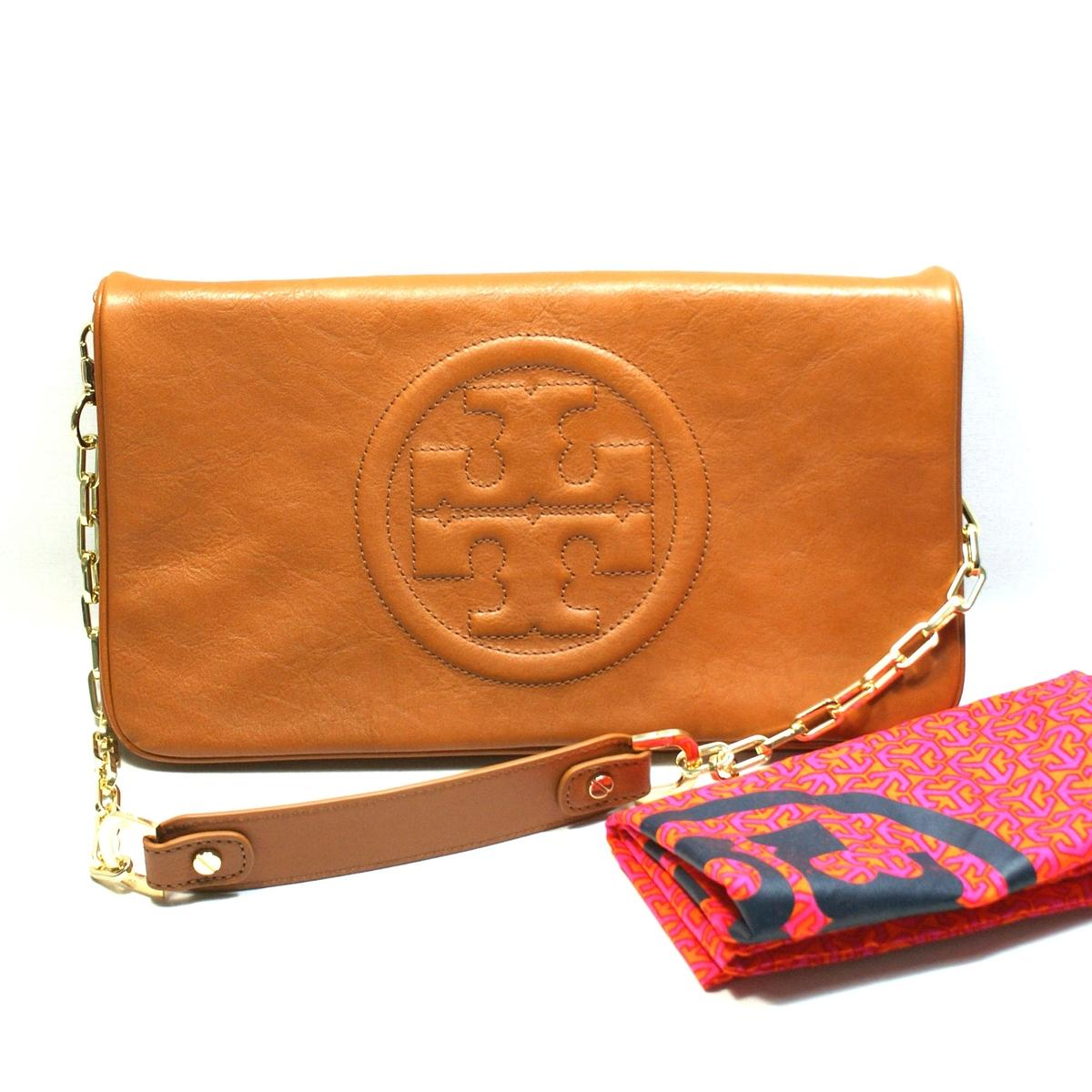 Tory Burch Luggage Leather Bombe Reva Clutch Shoulder Bag