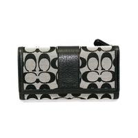 CoachParker Signature Checkbook  Wallet/ Clutch Black