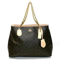 CoachPeyton Signature Chain Tote Brown