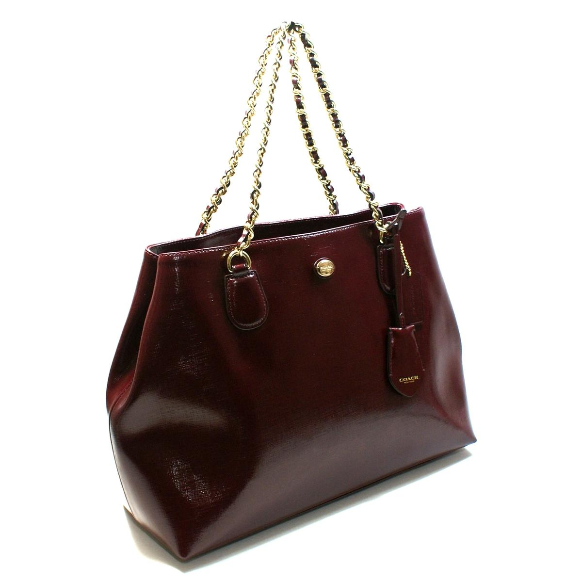 Coach Peyton Leather Chain Tote Sherry 31752 Coach 31752