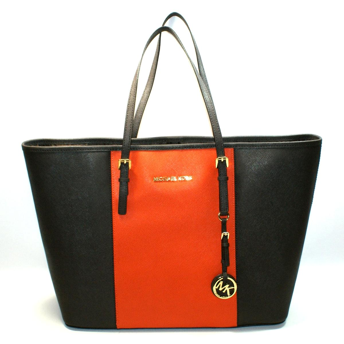 b8e016bb714a9f Home · Michael Kors · Jet Set Medium Travel Center Stripe Genuine Leather  Tote Coffee/ Orange. CLICK THUMBNAIL TO ZOOM. Found ...