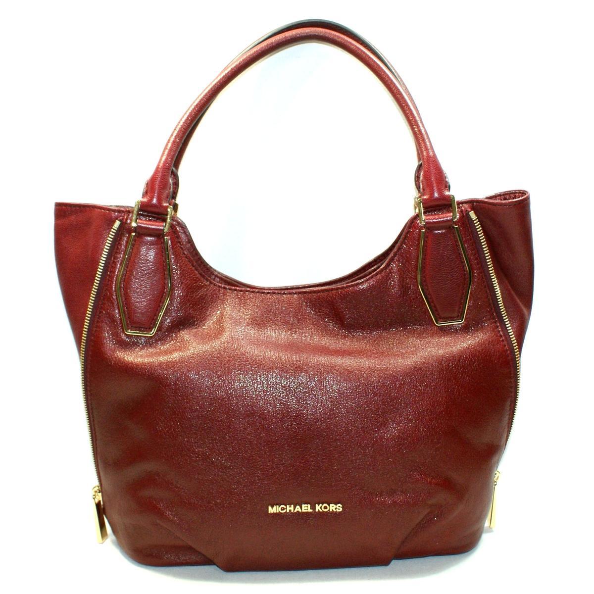 f182f00317f28 Michael Kors Vanessa Medium Shoulder Leather Tote Bag Claret ...