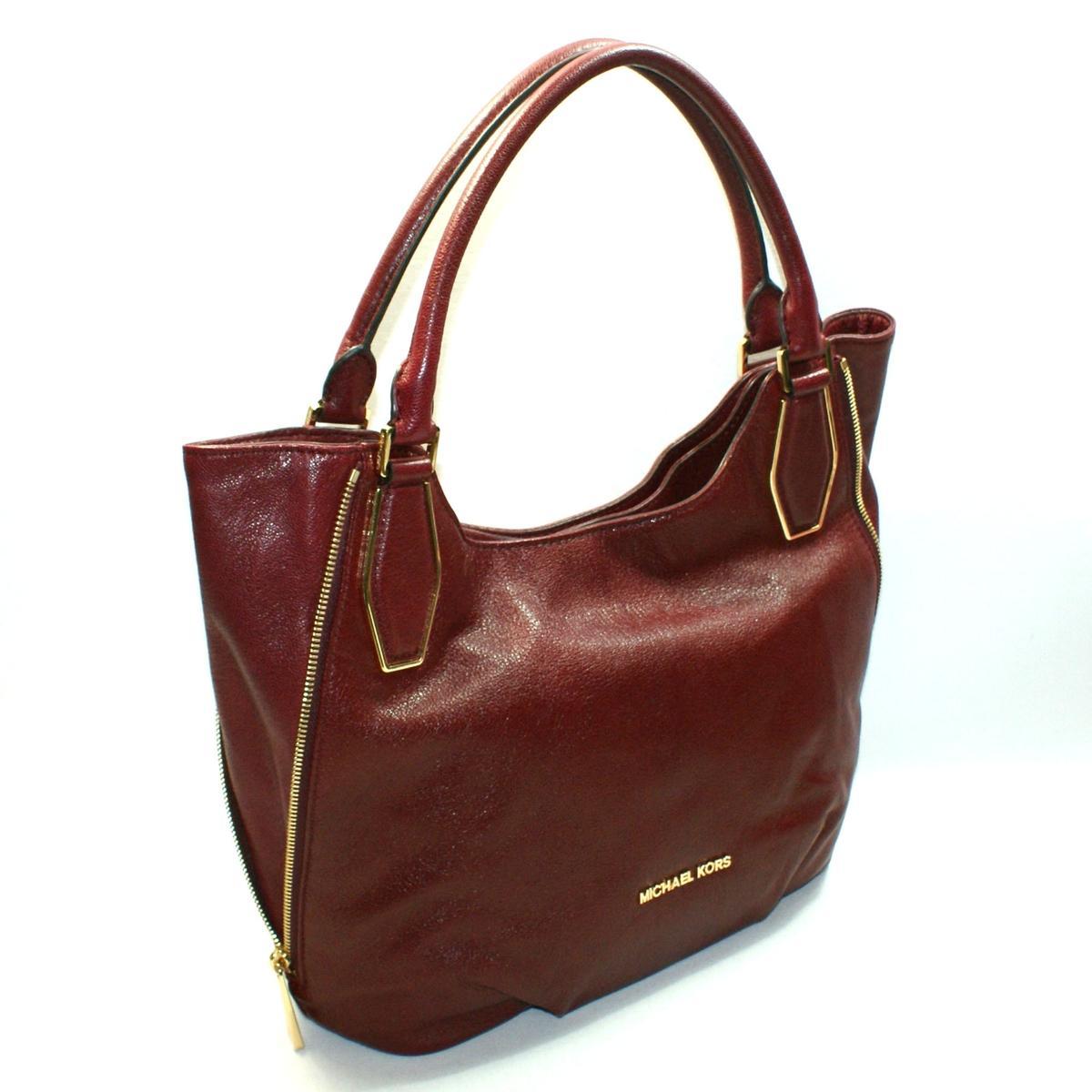 michael kors vanessa medium shoulder leather tote bag claret rh fashfires com