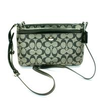 CoachPeyton Signature Swingpack With Pouch/ Crossbody Bag Black/ White
