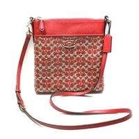 CoachCoated Canvas Signature North/ South Swingpack/ Crossbody Bag Red