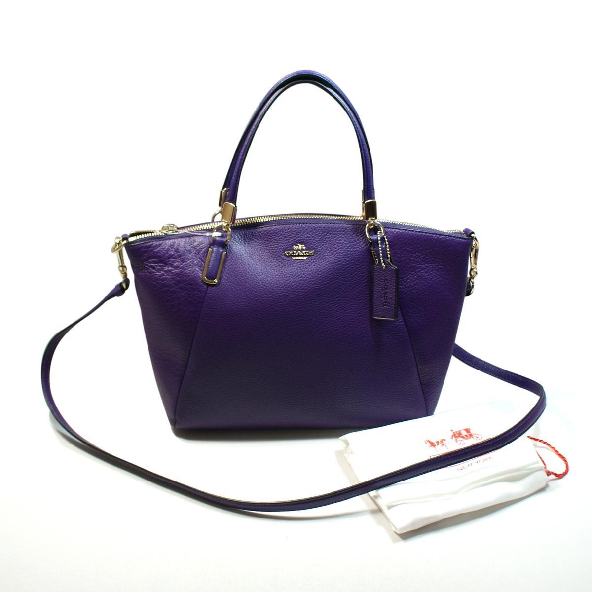 Coach Pebbled Leather Small Kelsey Violet Handbag