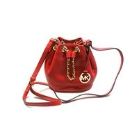 Michael KorsFrankie Leather Small Drawstring Crossbody Bag Red