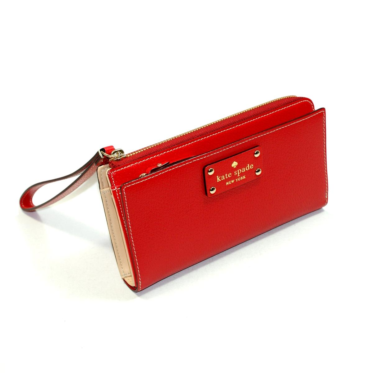 Kate Spade Layton Wellesley Leather Large Wristlet Pillbox Red Wlru1779 Kate Spade Wlru1779