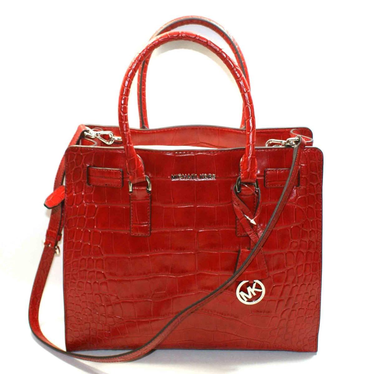 Case Design micheal kors phone cases : Michael Kors Dillon Large Embossed Leather Tote/ Shoulder Bag Dark Red