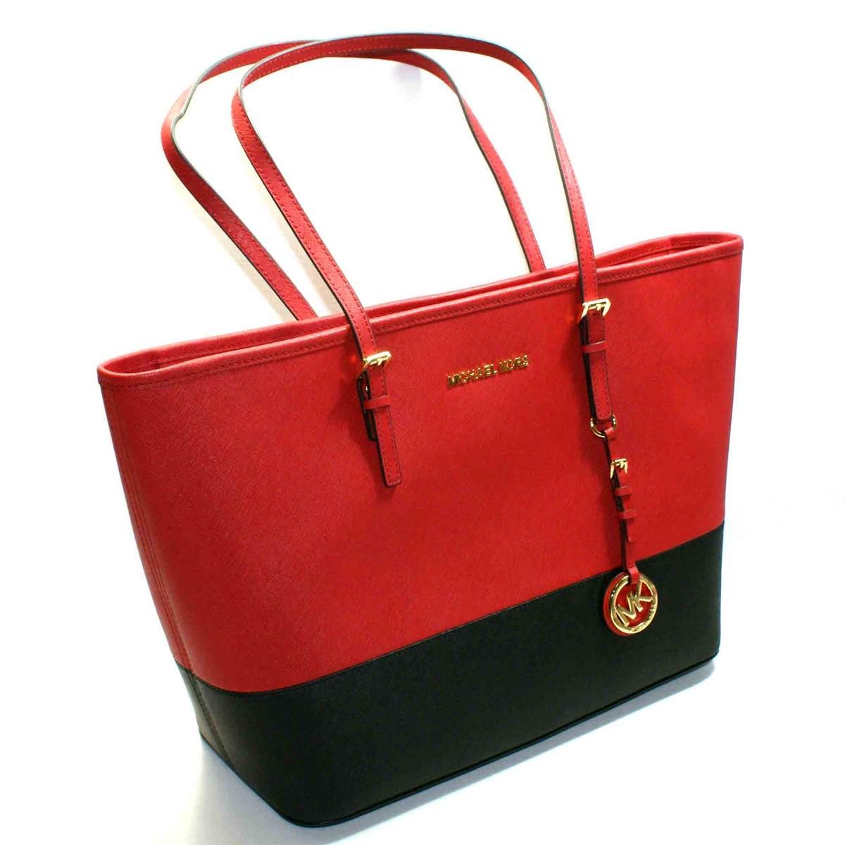 Michael Kors Jet Set Travel Leather Tote Red/ Black