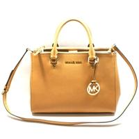 Michael KorsSutton Medium Satchel Leather Bag/ Shoulder Peanut